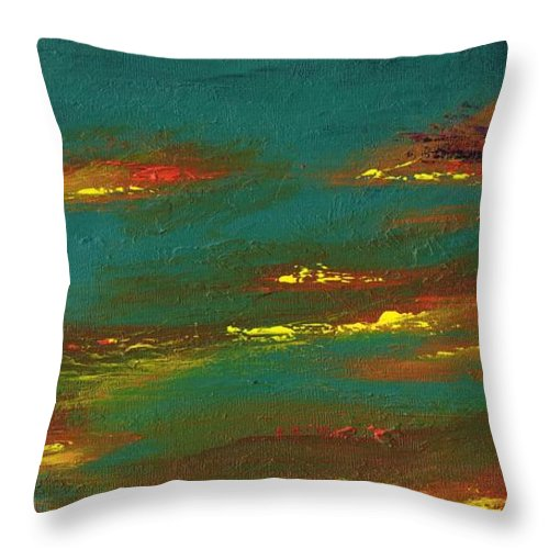 Desert Throw Pillow featuring the painting 2nd In A Triptych by Frances Marino