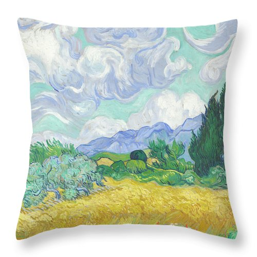 Vincent Van Gogh Throw Pillow featuring the painting A Wheatfield With Cypresses by Vincent van Gogh