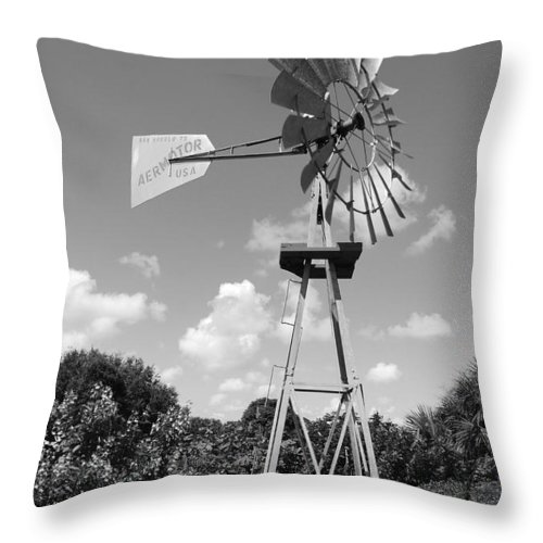 Black And White Throw Pillow featuring the photograph Aermotor Windmill by Rob Hans