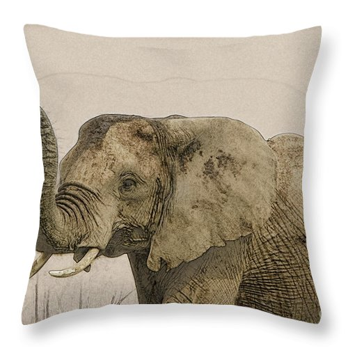African Elephant Throw Pillow featuring the digital art African Elephant Masai Mara, Kenya by Humourous Quotes