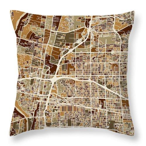 Street Map Throw Pillow featuring the digital art Albuquerque New Mexico City Street Map by Michael Tompsett