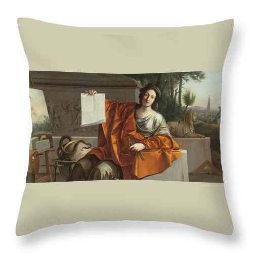 Laurent De La Hyre (french Throw Pillow featuring the painting Allegory Of Geometry by MotionAge Designs