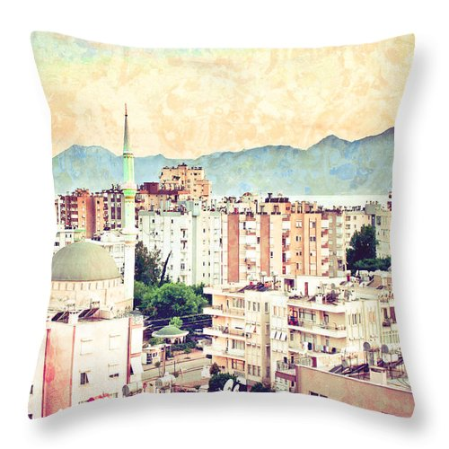 Adhan Throw Pillow featuring the photograph Antalya by Tom Gowanlock