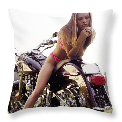 Throw Pillow featuring the photograph Bikes And Babes by Clayton Bruster