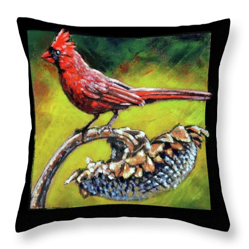 Bird Throw Pillow featuring the painting Birdman Of Alcatraz Detail by John Lautermilch