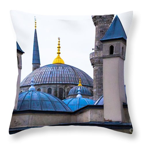 Blue Mosque Throw Pillow featuring the photograph Blue Mosque-- Sultan Ahmed Mosque by Rene Triay Photography