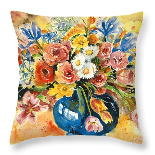 Still Life Throw Pillow featuring the painting Blue Vase by Alexandra Maria Ethlyn Cheshire