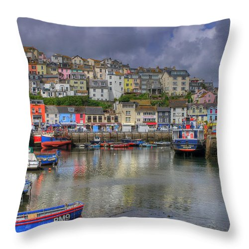 Blue Throw Pillow featuring the photograph Brixham Harbour by Mike Lester