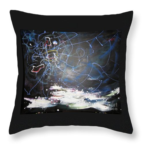 Abstract Paintings Throw Pillow featuring the painting Buckwheat Field by Seon-Jeong Kim