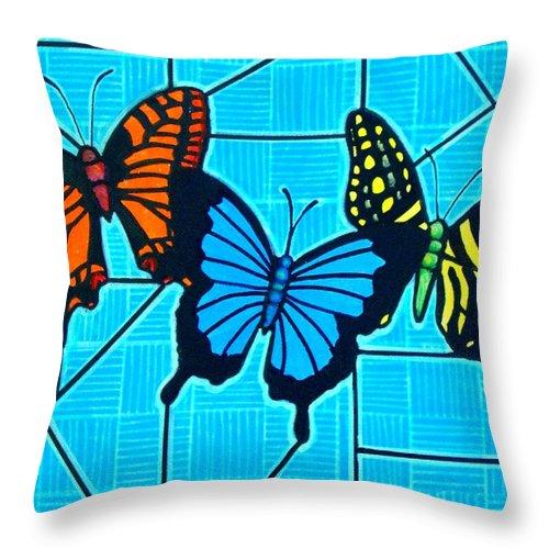 Butterflies Throw Pillow featuring the painting 3 Butterflies on Blue by Jim Harris
