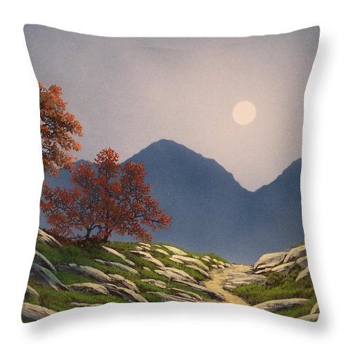 Mountains Throw Pillow featuring the painting By The Light Of The Moon by Frank Wilson