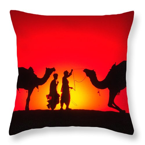 India Throw Pillow featuring the photograph Camels At Sunset by Michele Burgess