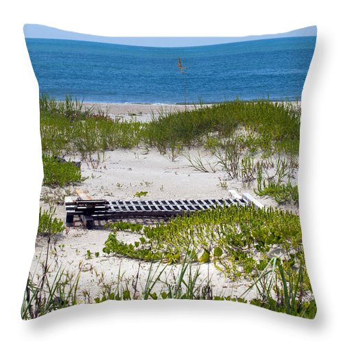 Florida; Beach; Ocean; Waves; Wave; Surf; Sand; Sandy; Coast; Shore; Atlantic; Cape; Canaveral; Scen Throw Pillow featuring the photograph Cape Canaveral Florida by Allan Hughes