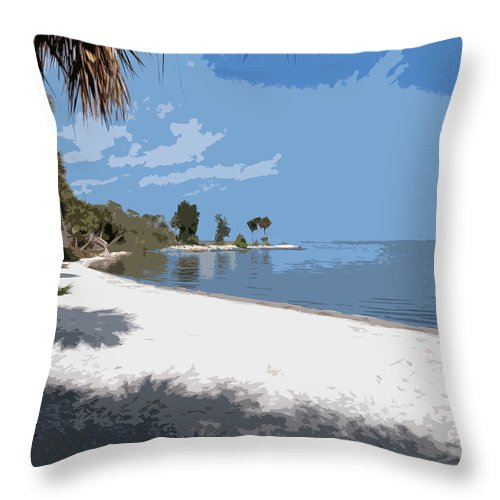 Castaway Throw Pillow featuring the painting Castaway Point On The Indian River Lagoon With Coquina Rock by Allan Hughes