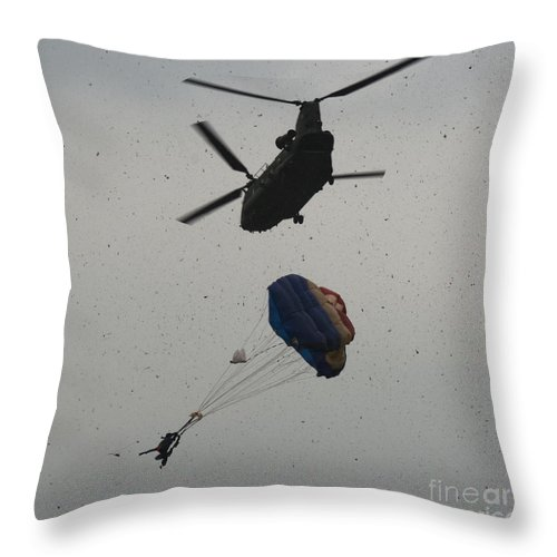 Chinook Throw Pillow featuring the photograph Chinook by Angel Ciesniarska