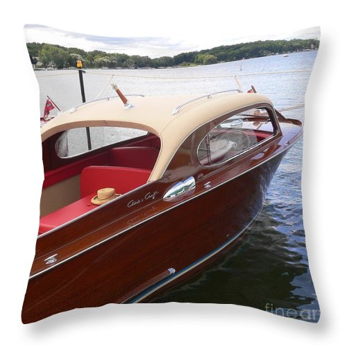 Wooden Boat Throw Pillow featuring the photograph Chris Craft by Neil Zimmerman