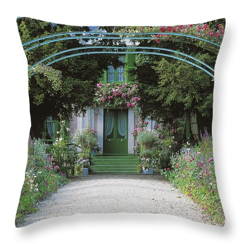Giverny Throw Pillow featuring the photograph Claude Monet's Garden At Giverny 5 by French School