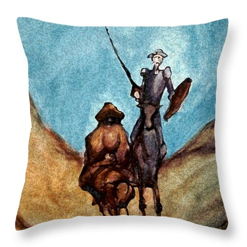 Don Quixote Throw Pillow featuring the painting Don Quixote by Kevin Middleton