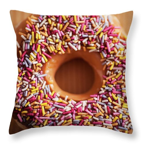 Donut Throw Pillow featuring the photograph Donut And Sprinkles by Samuel Whitton
