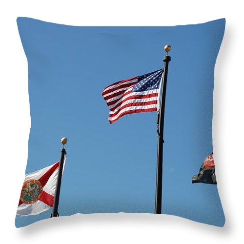 American Flag Throw Pillow featuring the photograph 3 Flags by Rob Hans