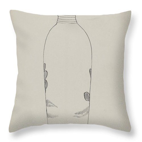 Throw Pillow featuring the drawing Flask by John Tarantino