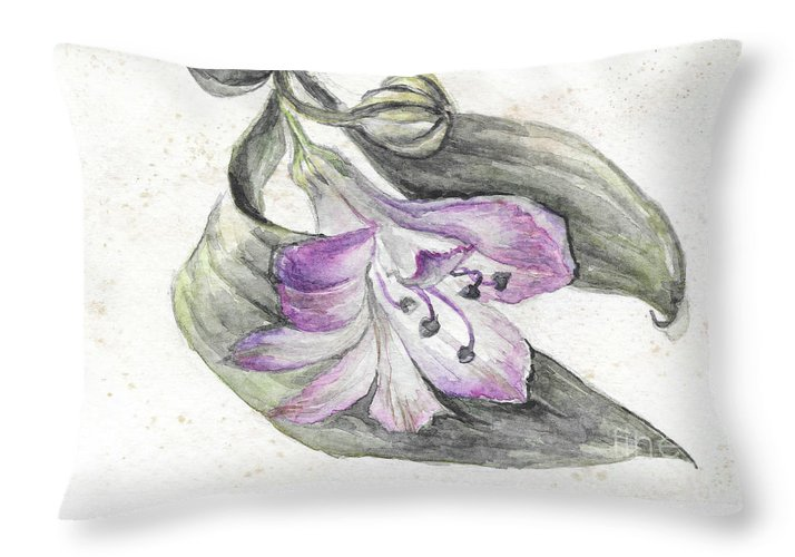 Flower Throw Pillow featuring the painting Flower by Yana Sadykova