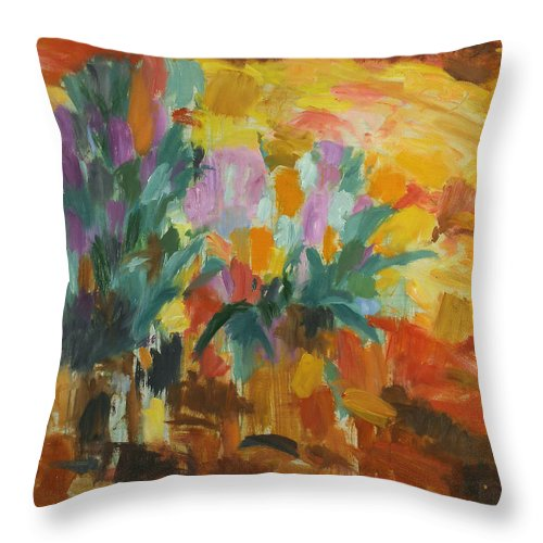 Bouquet Throw Pillow featuring the painting Flowers by Robert Nizamov