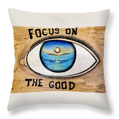Positiveprints Throw Pillow featuring the painting Focus On The Good 3 by Paul Carter