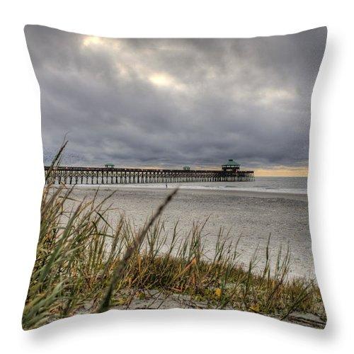 Folly Beach Throw Pillow featuring the photograph Folly Beach Pier by Dustin K Ryan