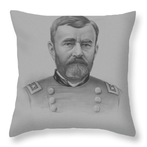 General Grant Throw Pillow featuring the drawing General Grant - Two by War Is Hell Store