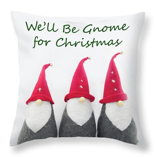 Dwarf Throw Pillow featuring the photograph Christmas Gnomes by Bob Corson