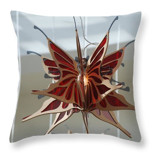 Architecture Throw Pillow featuring the photograph Hanging Butterfly by Rob Hans