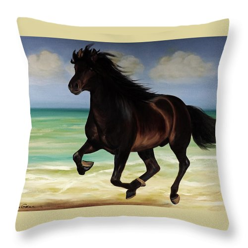Horse Throw Pillow featuring the painting Horses In Paradise Run by Gina De Gorna