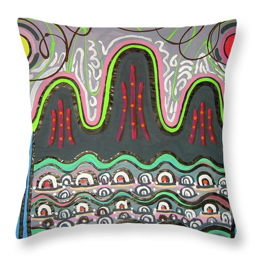 Korean Art Throw Pillow featuring the painting Ilwolobongdo Abstract Landscape Painting2 by Seon-jeong Kim