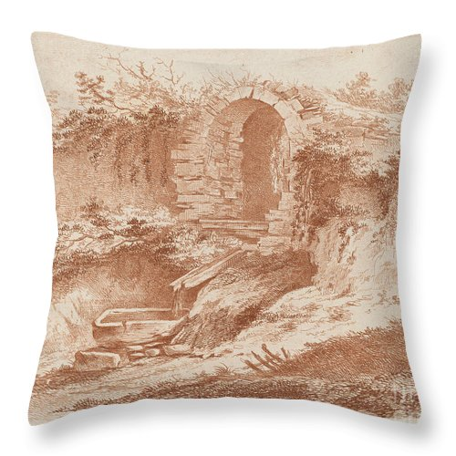 Throw Pillow featuring the drawing Landscape by Jean-jacques De Boissieu