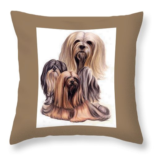 Purebred Throw Pillow featuring the drawing Lhasa Apso Triple by Barbara Keith