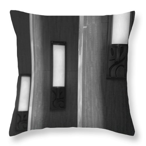 Sconce Throw Pillow featuring the photograph 3 Lighted Wall Sconce by Rob Hans