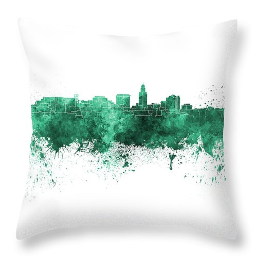 Lincoln Skyline Throw Pillow featuring the painting Lincoln Skyline In Watercolor Background by Pablo Romero