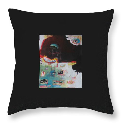 Abstract Paintings Throw Pillow featuring the painting Little Bay by Seon-Jeong Kim