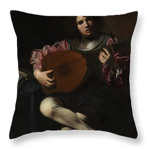 Lute Player Throw Pillow featuring the painting Lute Player by Valentin de Boulogne