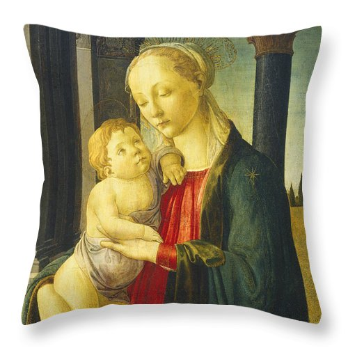 Sandro Botticelli Throw Pillow featuring the painting Madonna And Child by Sandro Botticelli