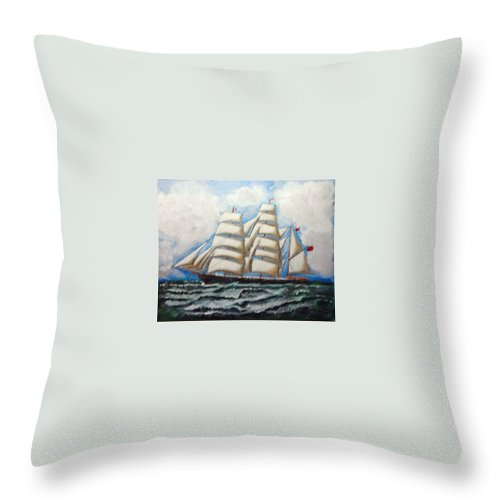 Tall Ship Throw Pillow featuring the painting 3 Master Tall Ship by Richard Le Page