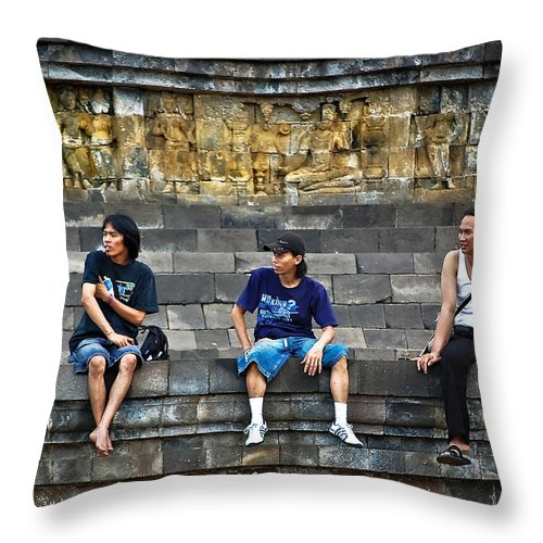 Men Throw Pillow featuring the photograph 3 Men Watching by Charuhas Images