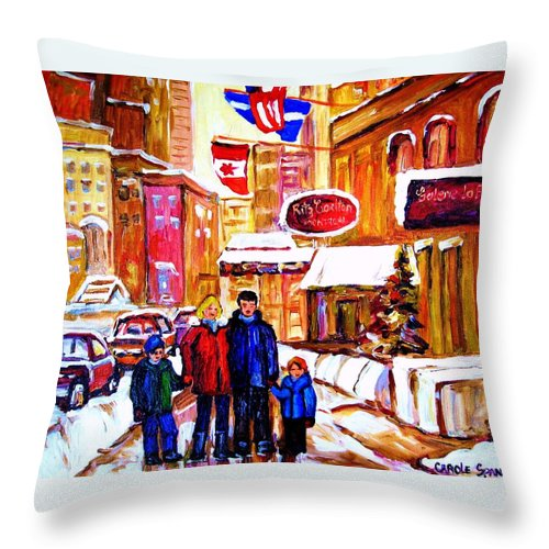 Montreal Throw Pillow featuring the painting Montreal Street In Winter by Carole Spandau