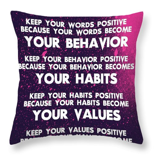 Motivational Quotes - Keep Your Words Positive - Ghandi Throw Pillow featuring the painting Motivational Quotes - Keep Your Words Positive - Ghandi by Celestial Images