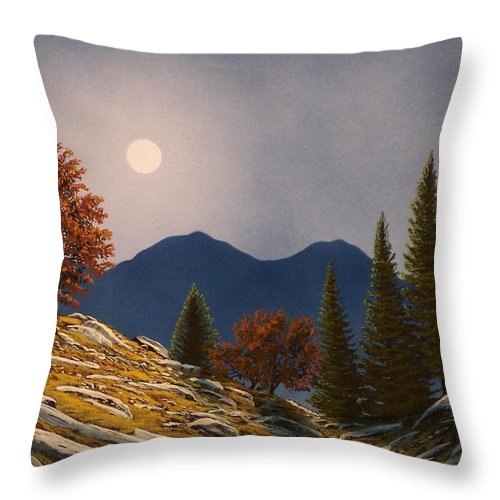 Landscape Throw Pillow featuring the painting Mountain Moonrise by Frank Wilson