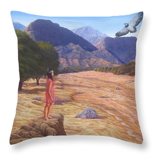 Landscape Throw Pillow featuring the painting Nawaja Inat The Legend Of The Water by Juan Enrique Marquez