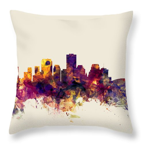 United States Throw Pillow featuring the digital art New Orleans Louisiana Skyline by Michael Tompsett