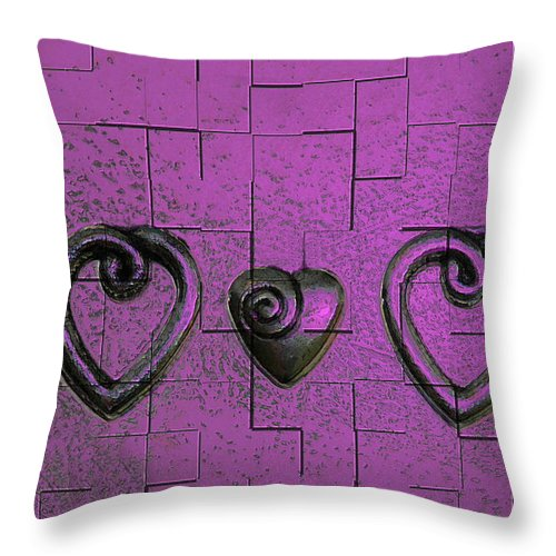 Abstracts Pink Purple Throw Pillow featuring the photograph 3 Of Hearts by Linda Sannuti