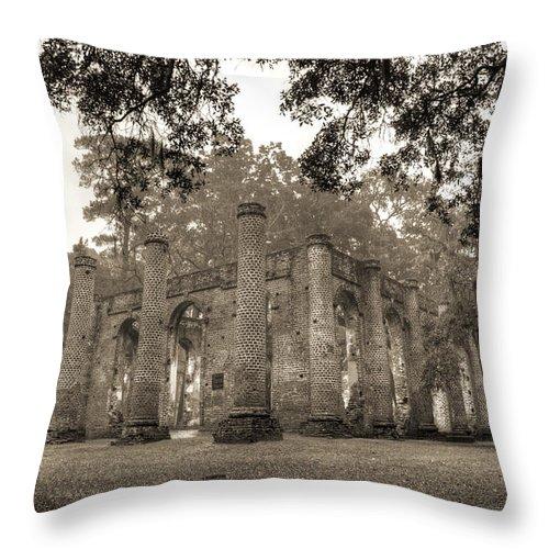 Old Sheldon Church Throw Pillow featuring the photograph Old Sheldon Church Ruins by Dustin K Ryan
